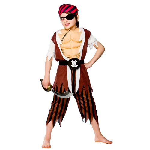 Boys Muscle Chest Pirate Costume for Sea Buccaneer Fancy Dress Kids Childs